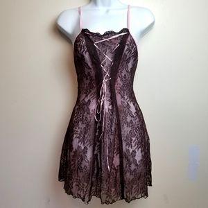 VINTAGE 90s Lace Up Babydoll Mini Dress